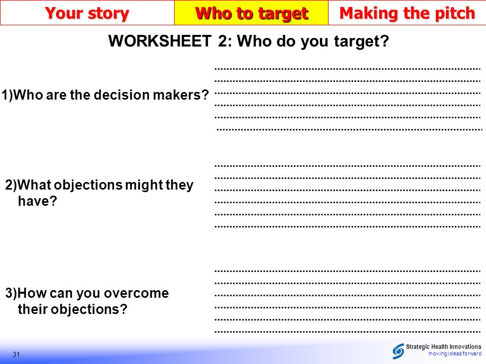 Strategic Health Innovations moving ideas forward 31 Your story Who to target Making the pitch 3)How can you overcome their objections? 2)What objecti