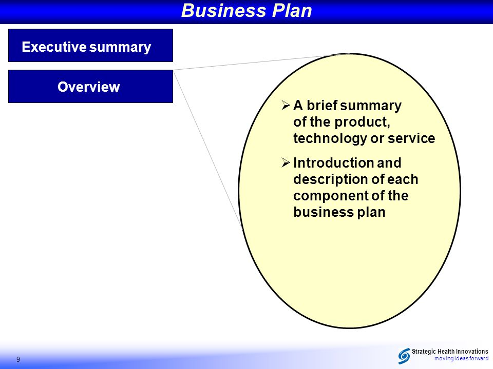 Strategic Health Innovations moving ideas forward 9 Business Plan Executive summary A brief summary of the product, technology or service Introduction