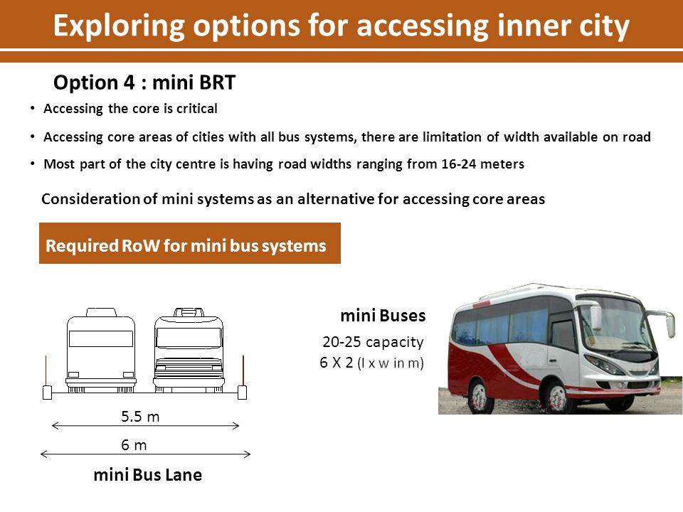 Required RoW for mini bus systems 5.5 m 6 m mini Bus Lane Accessing the core is critical Accessing core areas of cities with all bus systems, there ar