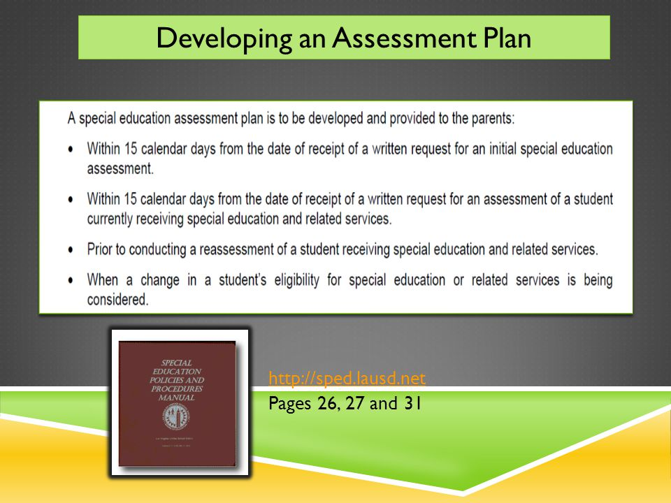 COURSE MAP SPECIAL EDUCATION ASSESSMENTS Section 3: Conclusion – Where to get Assistance Section 2: Scenarios Section 1: Instructions – Special Education Assessment Plan Introduction