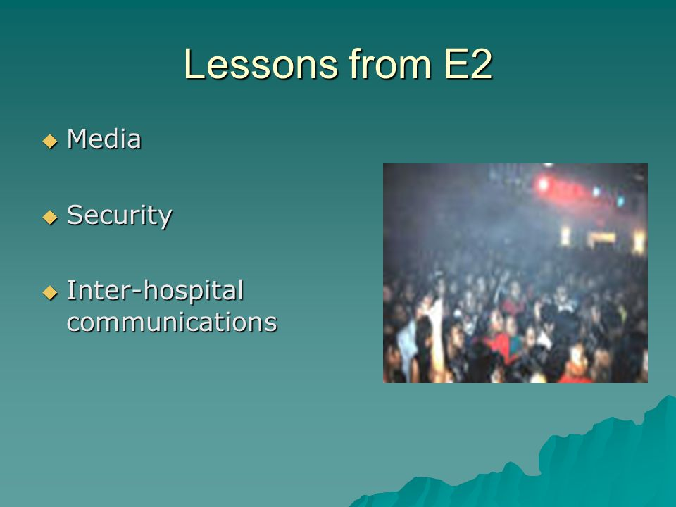 Lessons from E2 Media Media Security Security Inter-hospital communications Inter-hospital communications