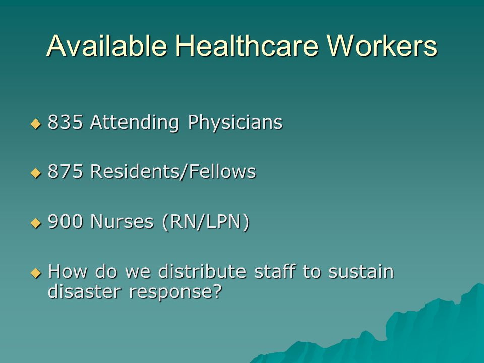 Available Healthcare Workers 835 Attending Physicians 835 Attending Physicians 875 Residents/Fellows 875 Residents/Fellows 900 Nurses (RN/LPN) 900 Nur