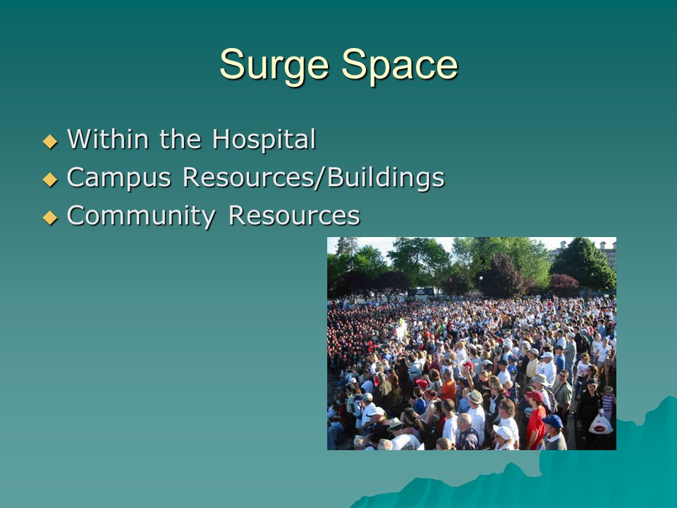 Surge Space Within the Hospital Within the Hospital Campus Resources/Buildings Campus Resources/Buildings Community Resources Community Resources