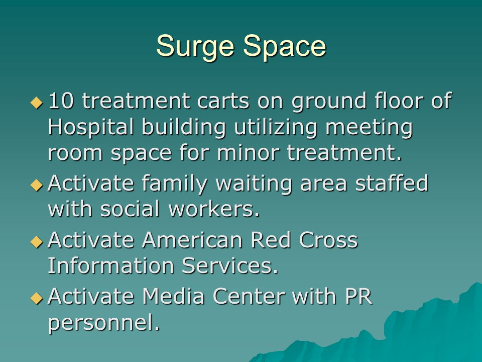 Surge Space 10 treatment carts on ground floor of Hospital building utilizing meeting room space for minor treatment. 10 treatment carts on ground flo