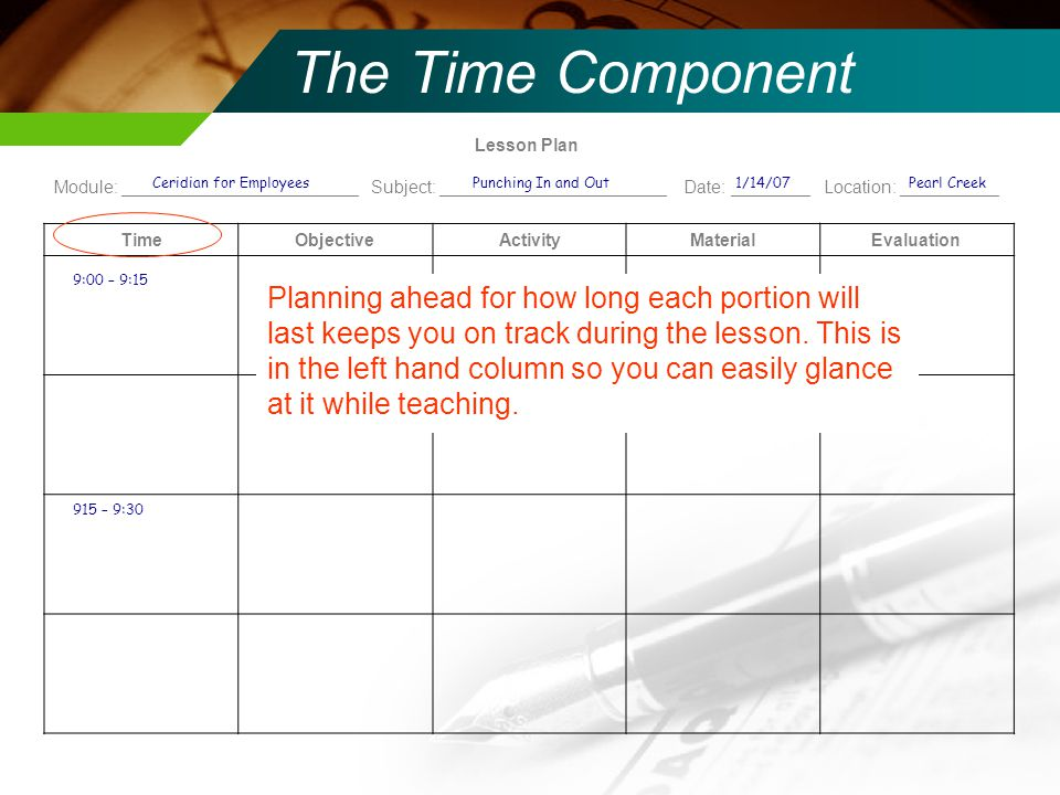 Lesson Plan Module: ________________________ Subject: _______________________ Date: ________ Location: __________ TimeObjectiveActivityMaterialEvaluation The Time Component Planning ahead for how long each portion will last keeps you on track during the lesson.