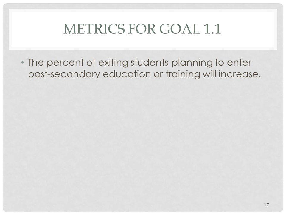 METRICS FOR GOAL 1.1 The percent of exiting students planning to enter post-secondary education or training will increase.