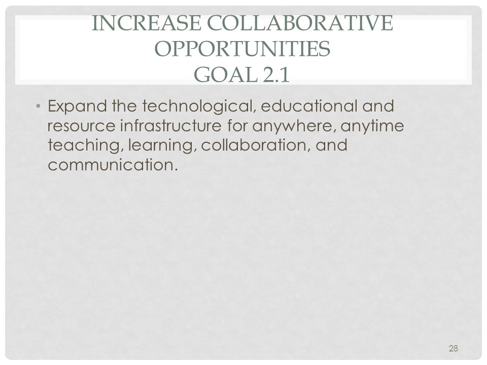 INCREASE COLLABORATIVE OPPORTUNITIES GOAL 2.1 Expand the technological, educational and resource infrastructure for anywhere, anytime teaching, learning, collaboration, and communication.