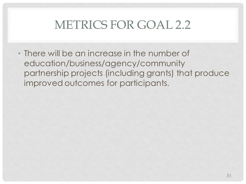 METRICS FOR GOAL 2.2 There will be an increase in the number of education/business/agency/community partnership projects (including grants) that produce improved outcomes for participants.