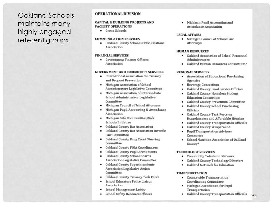 Oakland Schools maintains many highly engaged referent groups. 97
