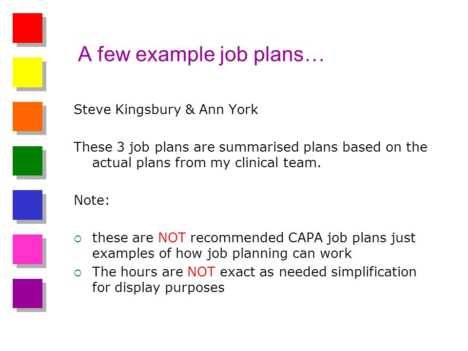 A few example job plans… Steve Kingsbury & Ann York These 3 job plans are summarised plans based on the actual plans from my clinical team.