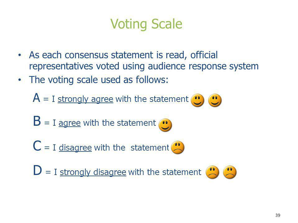 39 As each consensus statement is read, official representatives voted using audience response system The voting scale used as follows: A = I strongly