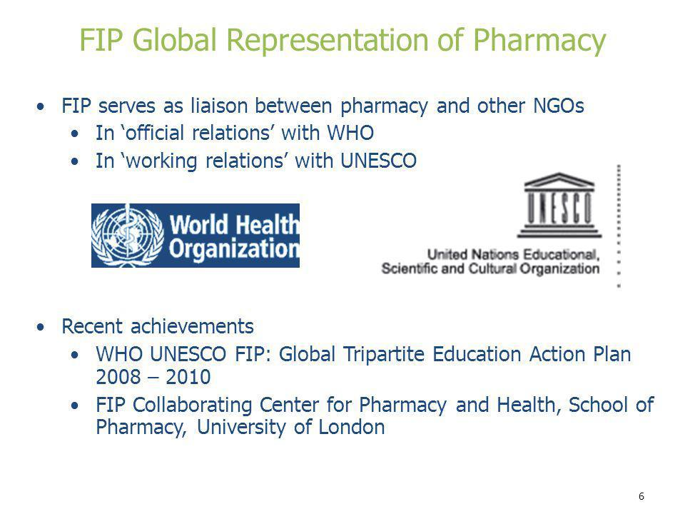 6 FIP serves as liaison between pharmacy and other NGOs In official relations with WHO In working relations with UNESCO Recent achievements WHO UNESCO