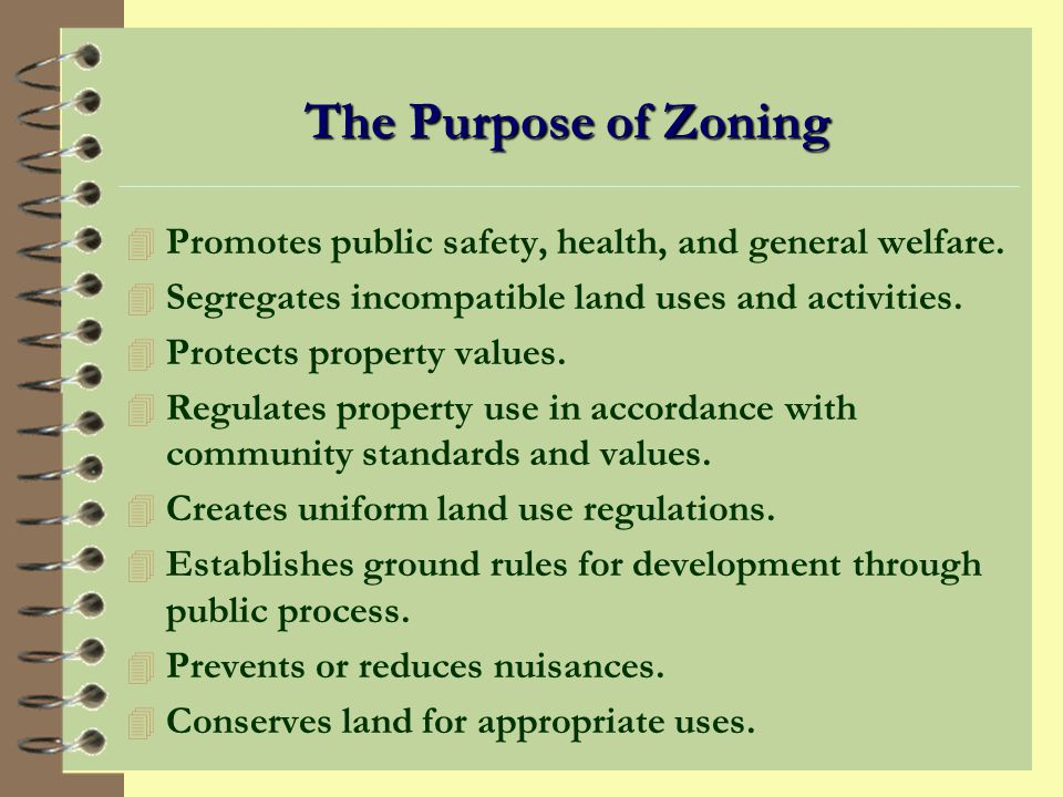 Zoning Regulations Zoning Code Components: 4 Map depicting zoning districts including residential, industrial, and commercial. 4 Text indicating permi