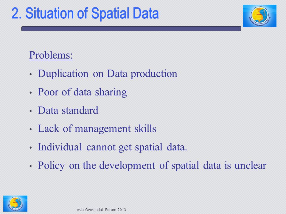 Problems: Duplication on Data production Poor of data sharing Data standard Lack of management skills Individual cannot get spatial data. Policy on th