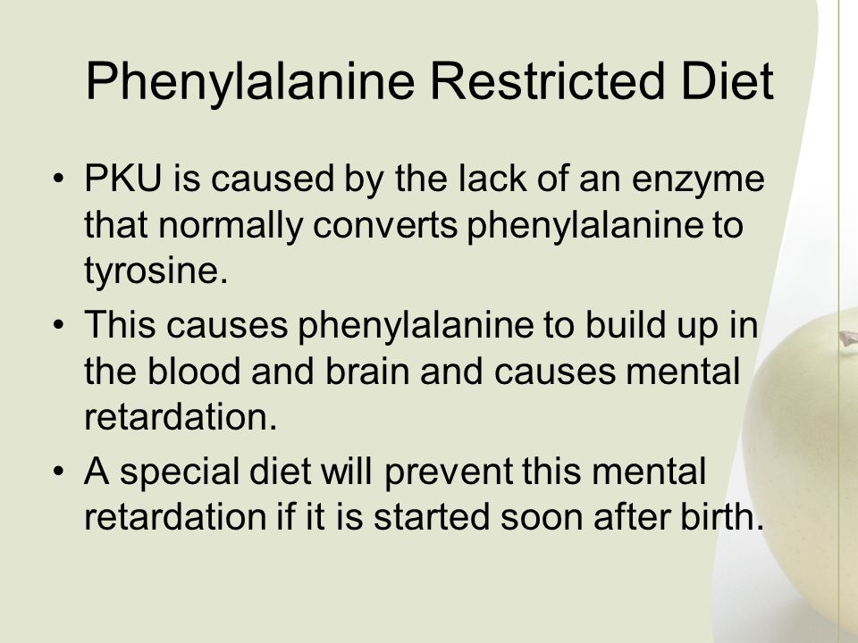 PKU is caused by the lack of an enzyme that normally converts phenylalanine to tyrosine. This causes phenylalanine to build up in the blood and brain