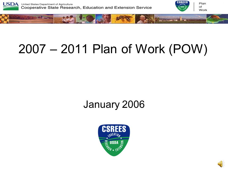 Structure of 2007-2011 POW 1.Plan Overview Section 2.Planned Programs Section 3.Multistate Extension and Integrated Research and Extension (Sections 105 & 204 of AREERA)
