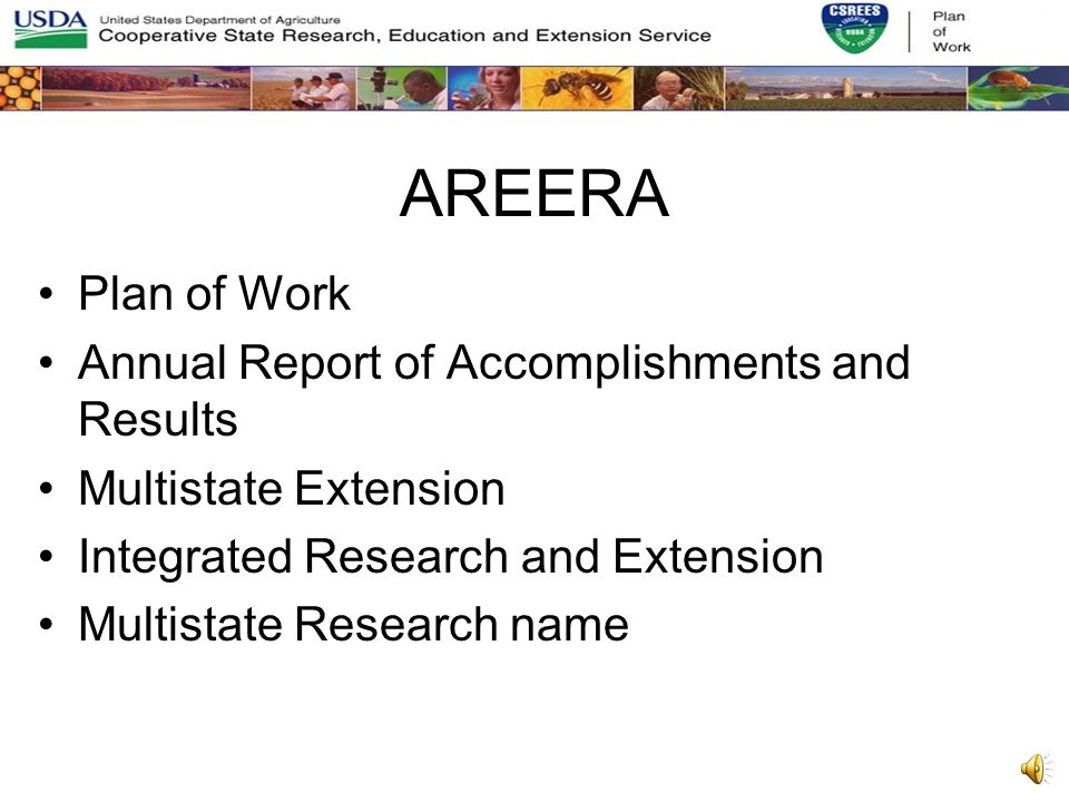 AREERA Plan of Work Annual Report of Accomplishments and Results Multistate Extension Integrated Research and Extension Multistate Research name