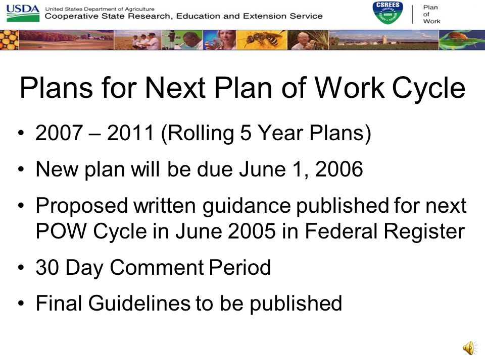 2005 – 2006 Plan of Work Update Submitted to CSREES by April 1, 2004 Extended the current Plan of Work Cycle to include FY 2005 & 2006 5 – 10 page document –States could add any relevant information not included in 2000 – 2004 Plan of Work –Outlined changes in focus over two year period from the original Plan