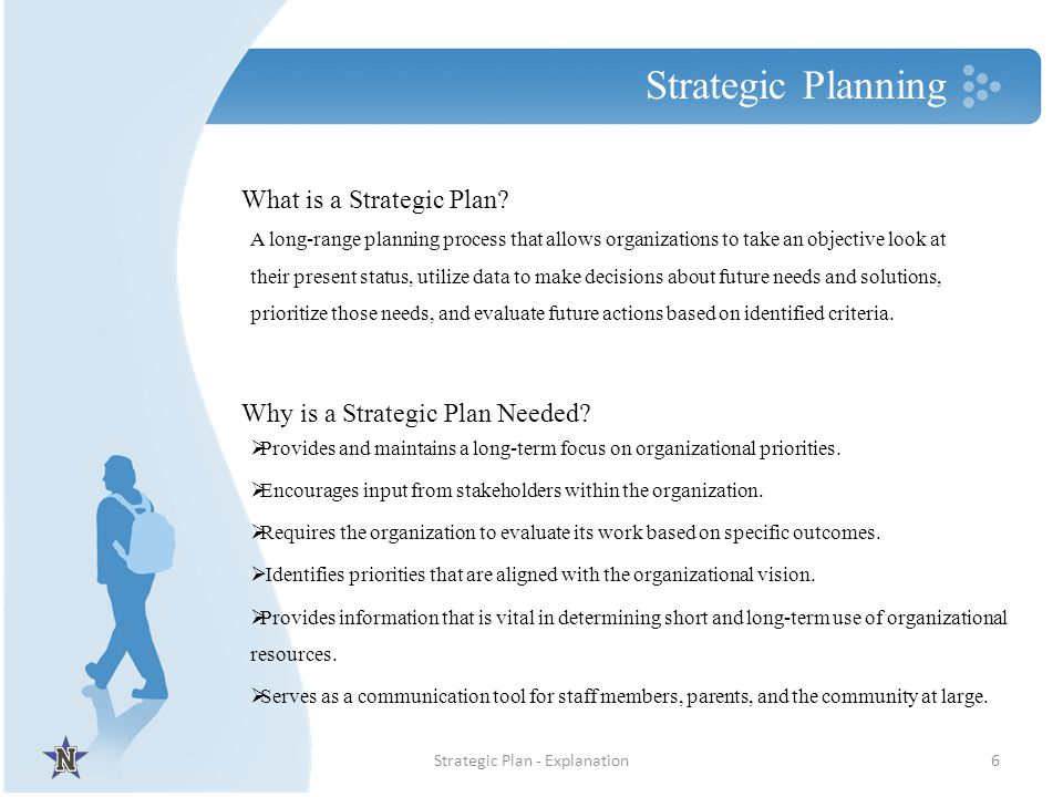 Strategic Planning 6Strategic Plan - Explanation Provides and maintains a long-term focus on organizational priorities. Encourages input from stakehol