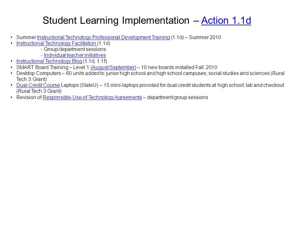 Student Learning Implementation – Action 1.1dAction 1.1d Summer Instructional Technology Professional Development Training (1.1d) – Summer 2010Instruc