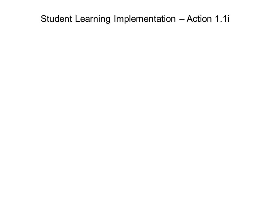 Student Learning Implementation – Action 1.1i
