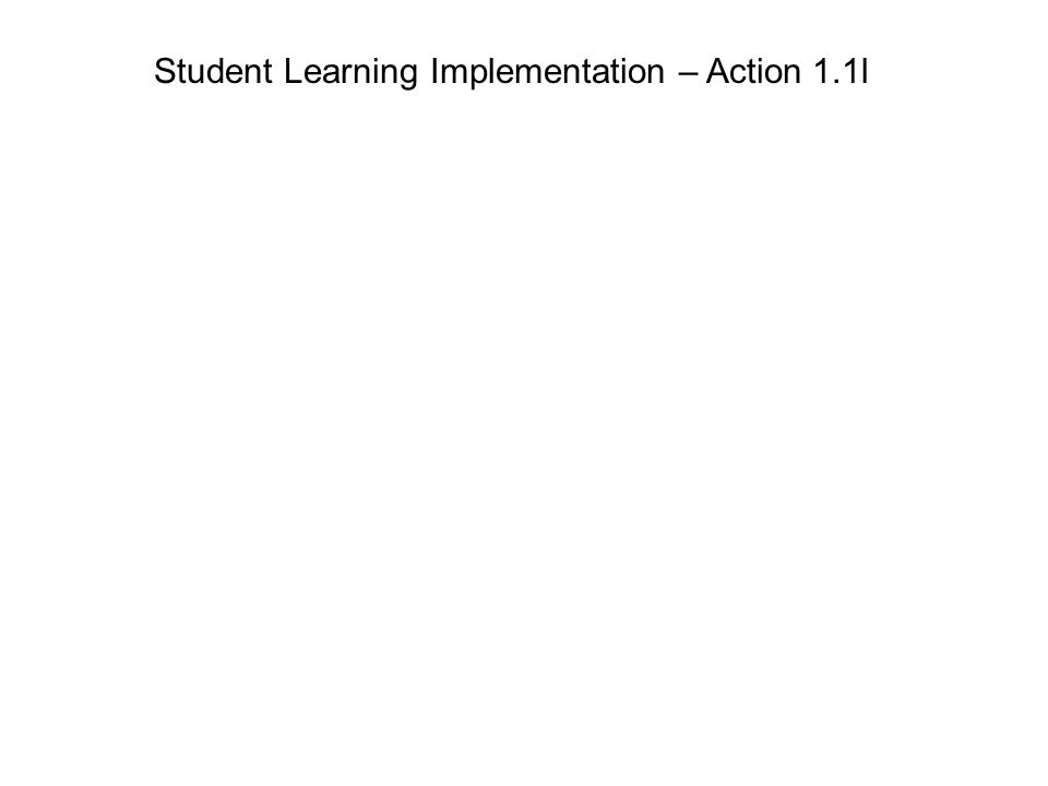 Student Learning Implementation – Action 1.1l