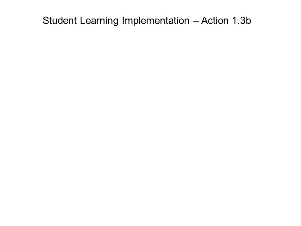 Student Learning Implementation – Action 1.3b