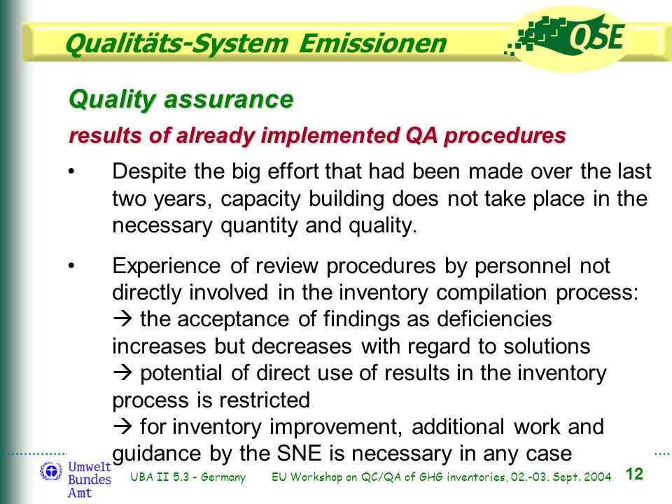 Qualitäts-System Emissionen 12 UBA II 5.3 - Germany EU Workshop on QC/QA of GHG inventories, 02.-03. Sept. 2004 Quality assurance results of already i