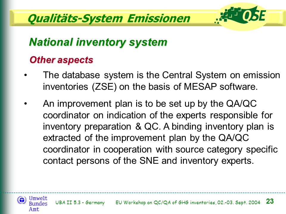 Qualitäts-System Emissionen 23 UBA II 5.3 - Germany EU Workshop on QC/QA of GHG inventories, 02.-03. Sept. 2004 The database system is the Central Sys