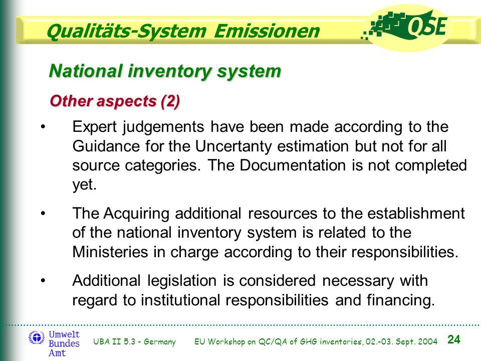 Qualitäts-System Emissionen 24 UBA II 5.3 - Germany EU Workshop on QC/QA of GHG inventories, 02.-03. Sept. 2004 Expert judgements have been made accor