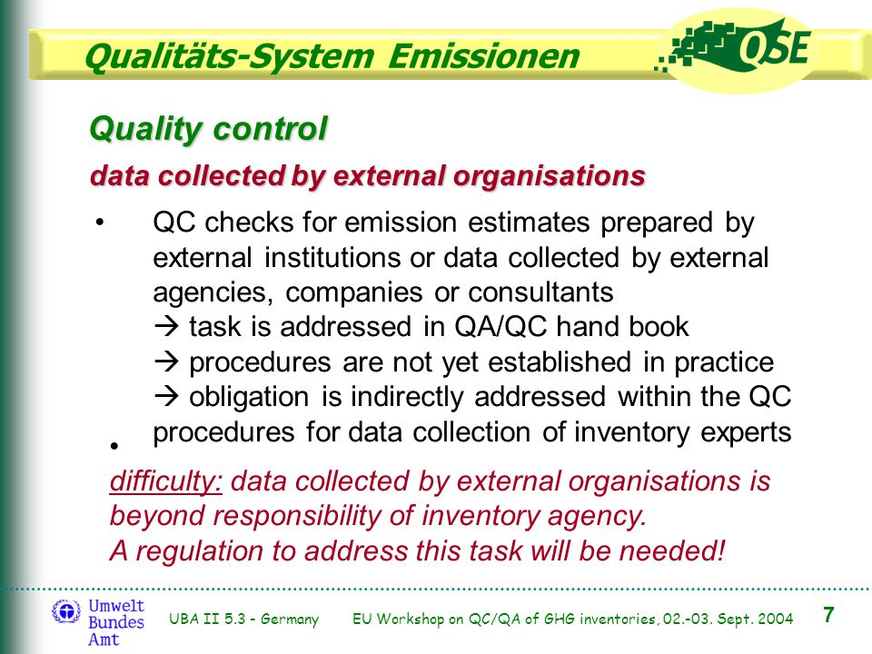Qualitäts-System Emissionen 7 UBA II 5.3 - Germany EU Workshop on QC/QA of GHG inventories, 02.-03. Sept. 2004 Quality control data collected by exter