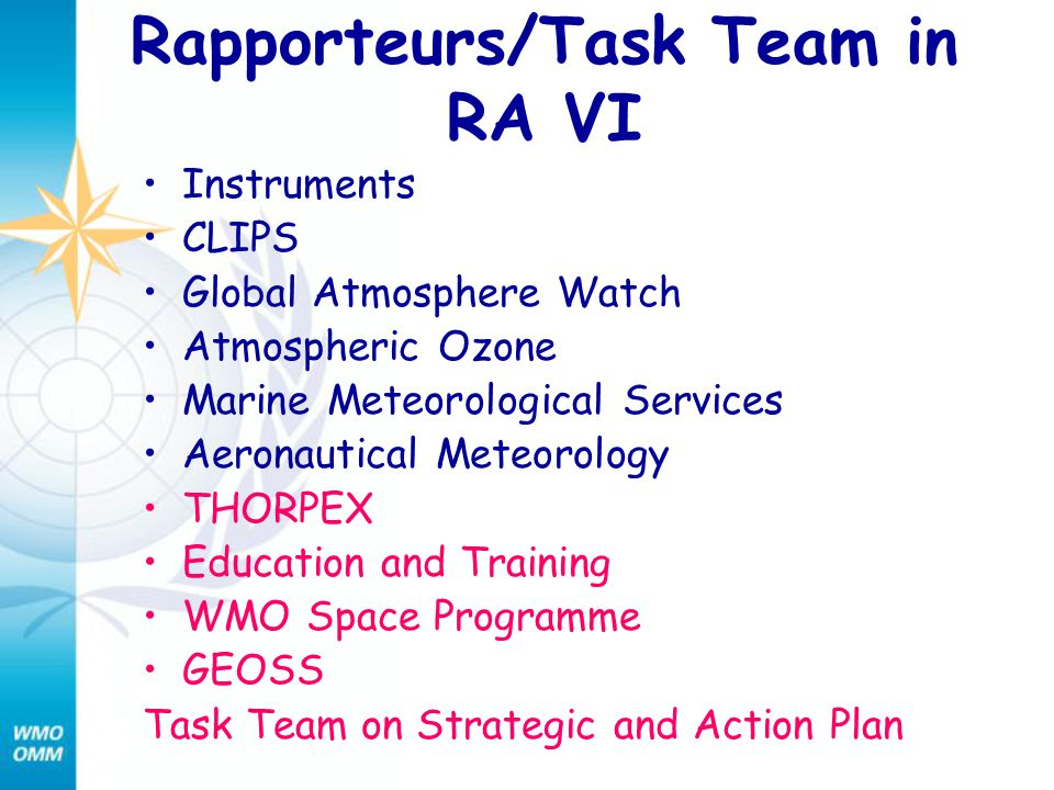 Rapporteurs/Task Team in RA VI Instruments CLIPS Global Atmosphere Watch Atmospheric Ozone Marine Meteorological Services Aeronautical Meteorology THO
