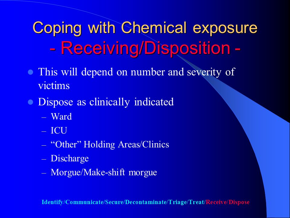 Coping with Chemical Exposure - Treating - Treat as clinically indicated Oxygen Nebulization Atropine IV for SLUDGE, until bronchial secretions decreases.