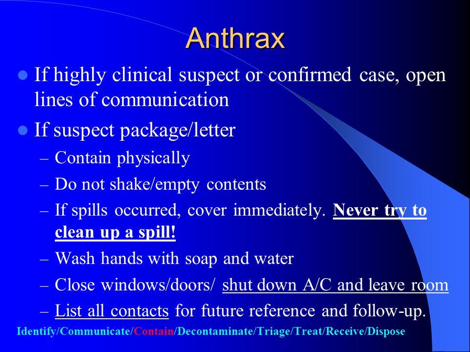 Inhalational Anthrax Differential Diagnosis Mycoplasmal pneumonia Legionnaires Disease Psittacosis Tularemia Q fever Viral Pneumonia Histoplasmosis (fibrous mediastinitis) Coccidioidomycosis