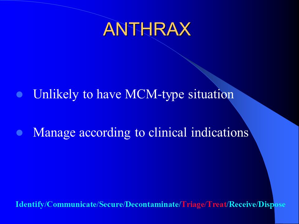 Anthrax For suspect/confirmed patient(s) or persons exposed to suspicious powder – Remove all clothing and accessories ASAP and bag in plastic – Shower with soap and water ASAP For suspect package/room – Hazmat team will secure area, remove object, seal room, initiate testing source Identify/Communicate/Contain/Decontaminate/Triage/Treat/Receive/Dispose