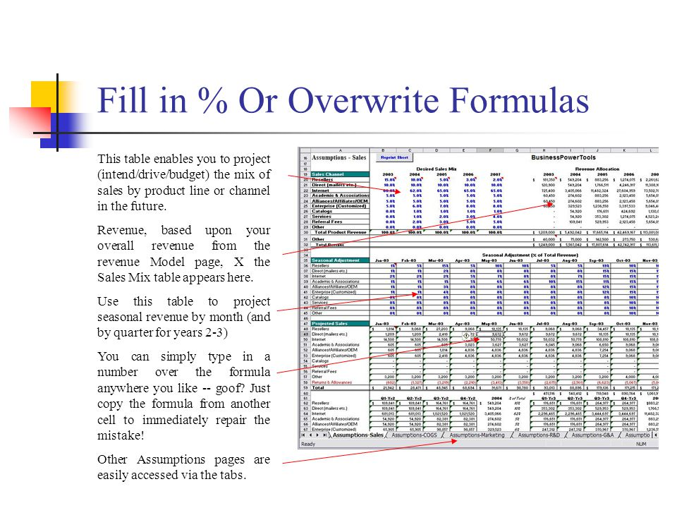 Fill in % Or Overwrite Formulas This table enables you to project (intend/drive/budget) the mix of sales by product line or channel in the future.