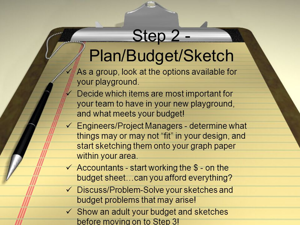 Step 2 - Plan/Budget/Sketch As a group, look at the options available for your playground. Decide which items are most important for your team to have