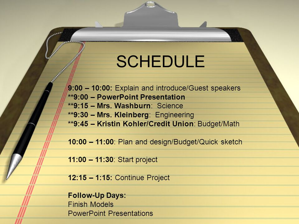 SCHEDULE 9:00 – 10:00: Explain and introduce/Guest speakers **9:00 – PowerPoint Presentation **9:15 – Mrs.