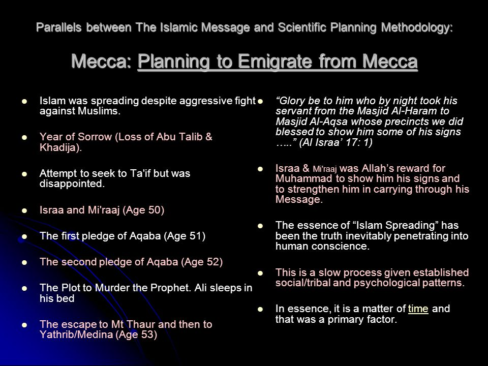 Parallels between The Islamic Message and Scientific Planning Methodology: Mecca: Planning to Emigrate from Mecca Islam was spreading despite aggressive fight against Muslims.