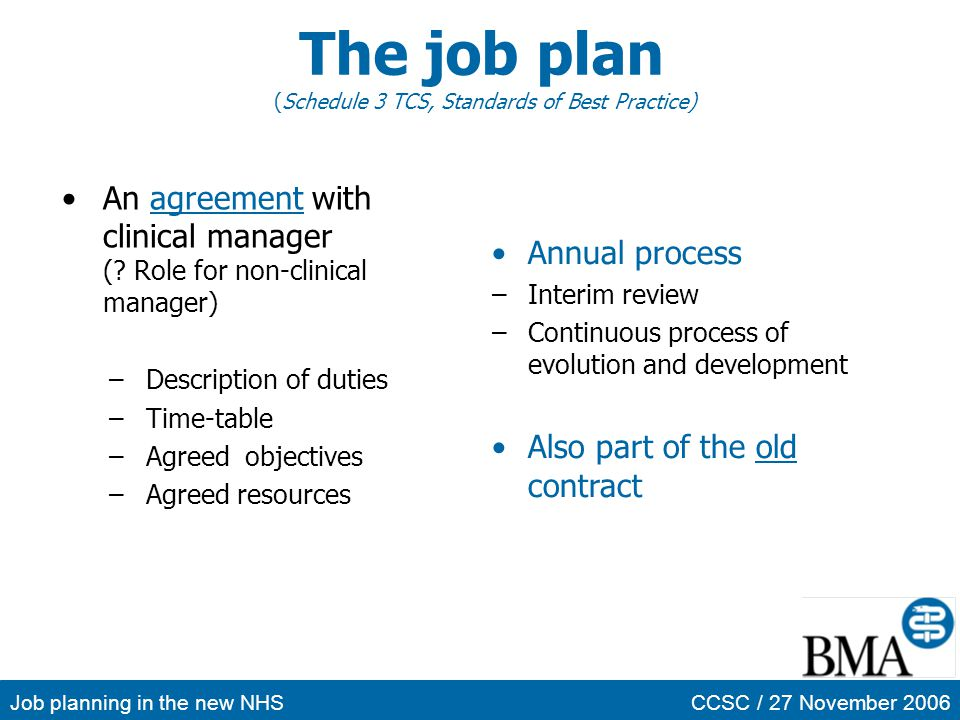 Job planning in the new NHSCCSC / 27 November 2006 The job plan (Schedule 3 TCS, Standards of Best Practice) An agreement with clinical manager (? Rol