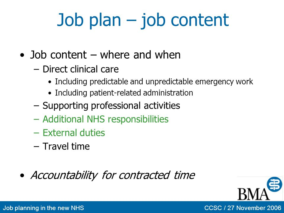 Job planning in the new NHSCCSC / 27 November 2006 Job plan – job content Job content – where and when –Direct clinical care Including predictable and