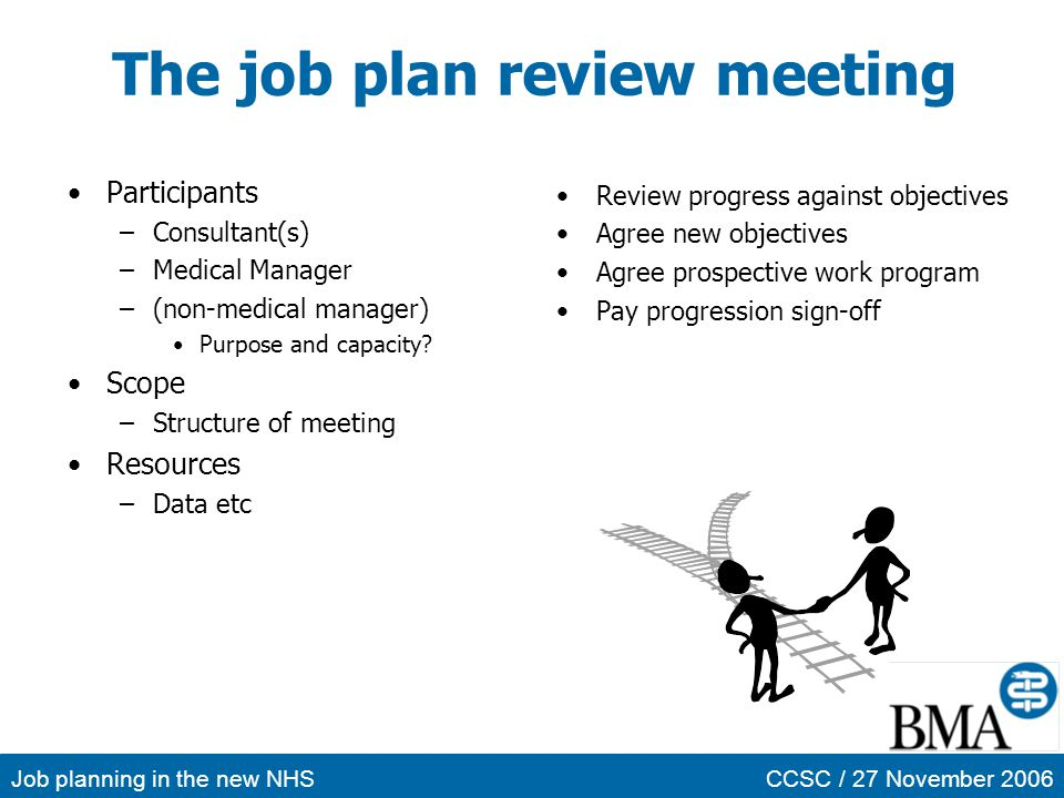 Job planning in the new NHSCCSC / 27 November 2006 The job plan review meeting Participants –Consultant(s) –Medical Manager –(non-medical manager) Pur