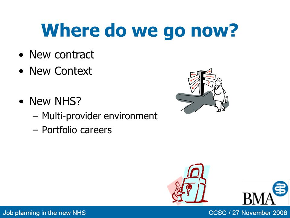 Job planning in the new NHSCCSC / 27 November 2006 Where do we go now? New contract New Context New NHS? –Multi-provider environment –Portfolio career