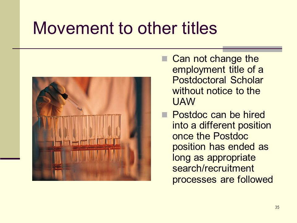 35 Movement to other titles Can not change the employment title of a Postdoctoral Scholar without notice to the UAW Postdoc can be hired into a differ