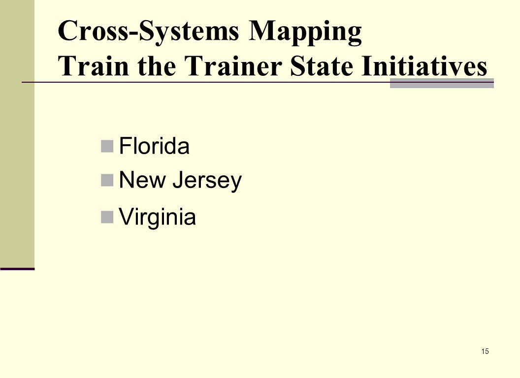 15 Cross-Systems Mapping Train the Trainer State Initiatives Florida New Jersey Virginia