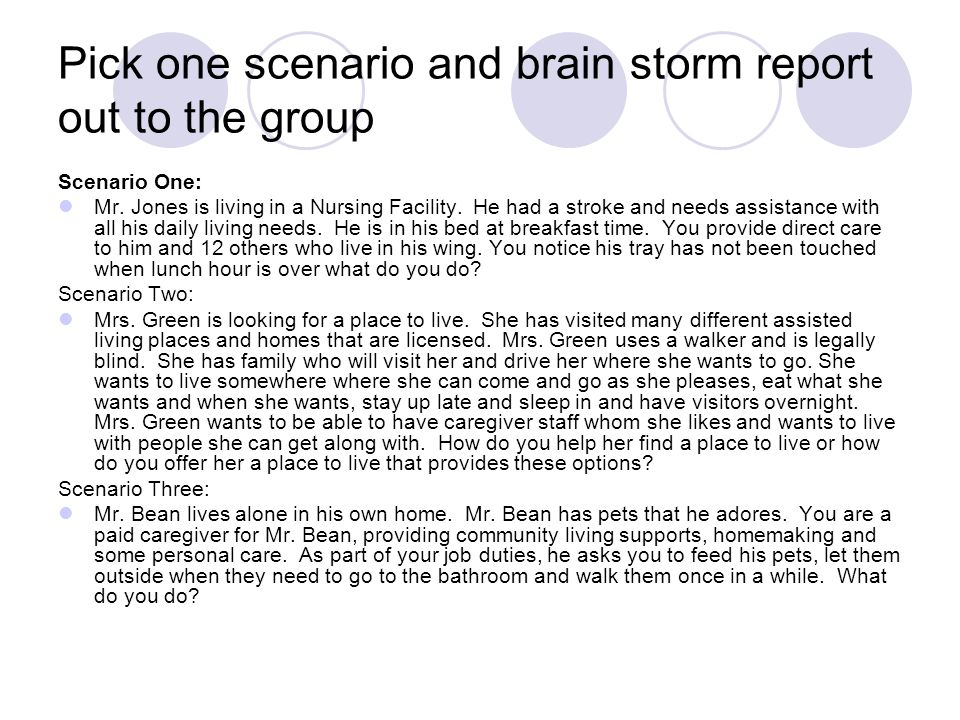 Pick one scenario and brain storm report out to the group Scenario One: Mr. Jones is living in a Nursing Facility. He had a stroke and needs assistanc