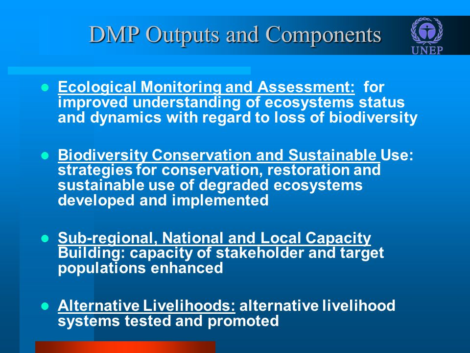 Outputs and Components (Continued) Policy and Legal Framework: sound policy interventions/guidelines for sustainable resource use formulated, adopted and implemented Extension of Sustainable Natural Resource Management: participatory NRM methods are implemented Stakeholder Participation: the target populations are involved at each stage of the project cycle