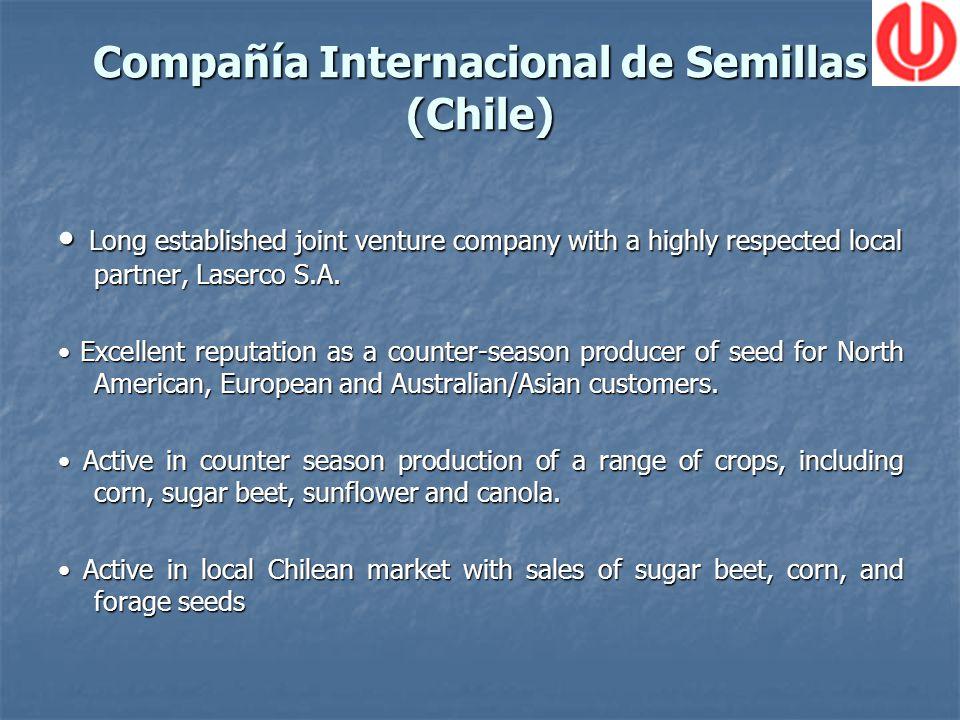 Compañía Internacional de Semillas (Chile) Long established joint venture company with a highly respected local partner, Laserco S.A.