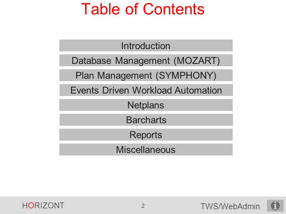 HORIZONT 3 TWS/WebAdmin What is TWS/WebAdmin.