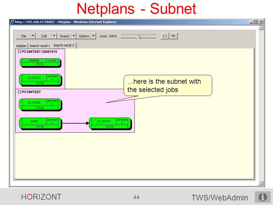 HORIZONT 44 TWS/WebAdmin Netplans - Subnet...here is the subnet with the selected jobs